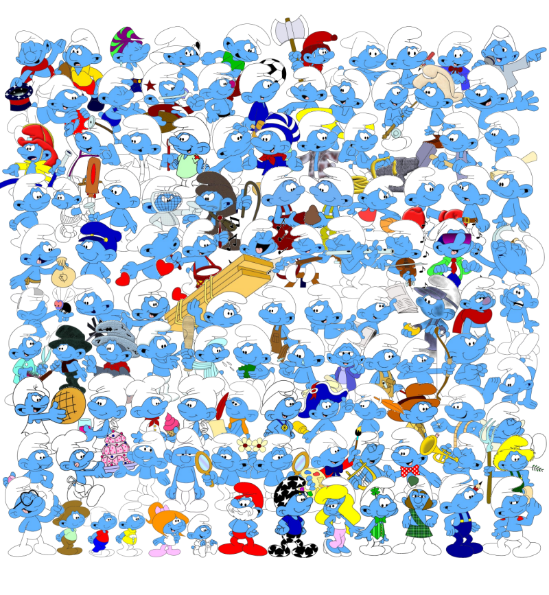 A picture of all the Smurfs in the           village