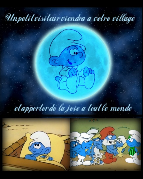 A sign in the moon foretells the coming of Baby Smurf