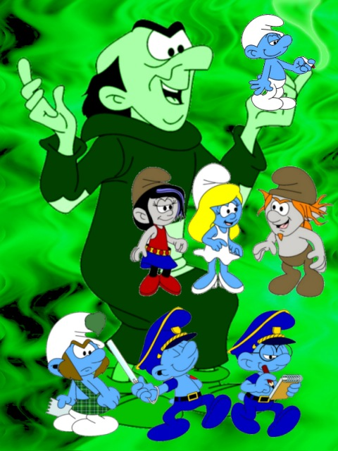 Gargamel and the Smurfs affected by smurfnip